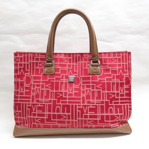 auth DVF diane von furstenburg RED CANVAS tote